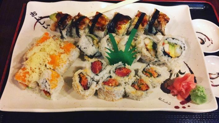 Spicy Tuna Roll, Spicy Shrimp Tempura Roll, Dragon Roll and Santa Fe Roll - Tanaka Sushi